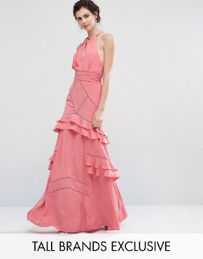 photo Layered Ruffle Maxi Dress by Jarlo Tall, color Pink - Image 1