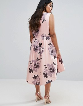 photo Plunge Front High Low Midi Dress in Floral Print by Chi Chi London Plus, color Multi - Image 2