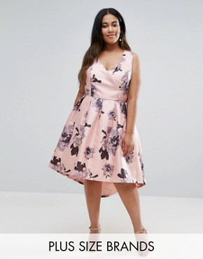 photo Plunge Front High Low Midi Dress in Floral Print by Chi Chi London Plus, color Multi - Image 1