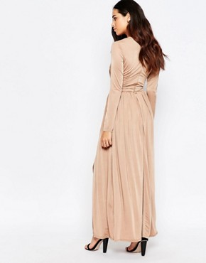 photo Skylar Wrap Front Maxi Dress with Thigh Split by Sistaglam, color Camel - Image 2