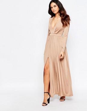 photo Skylar Wrap Front Maxi Dress with Thigh Split by Sistaglam, color Camel - Image 1