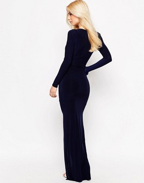 photo Ruthie Maxi Dress with Diamante Bar Detail and Front Split by Sistaglam, color Navy - Image 2