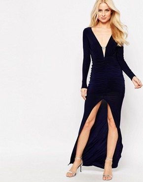 photo Ruthie Maxi Dress with Diamante Bar Detail and Front Split by Sistaglam, color Navy - Image 1