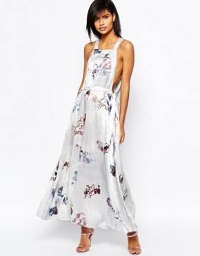 photo Dungaree Maxi Dress in Blurred Floral Print by ASOS, color Multi - Image 1