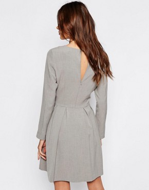 photo Trina Long Sleeve Dress with Pleat Skirt by Selected, color Light Grey - Image 2