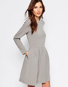 photo Trina Long Sleeve Dress with Pleat Skirt by Selected, color Light Grey - Image 1
