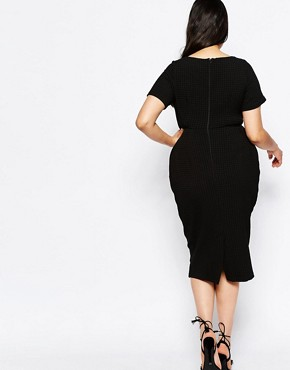 photo Midi Wiggle Dress in Texture by ASOS CURVE, color Black - Image 2