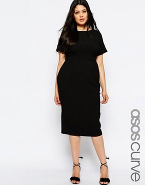 photo Midi Wiggle Dress in Texture by ASOS CURVE, color Black - Image 1