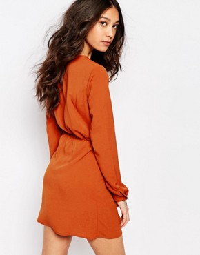 photo Lace Up Detail Dress by First & I, color Rust Orange - Image 2