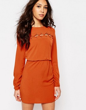photo Lace Up Detail Dress by First & I, color Rust Orange - Image 1