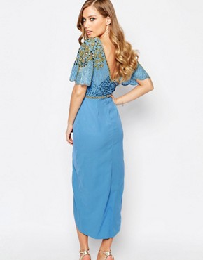photo Laila Embellished Midi Dress with Thigh Split by Virgos Lounge, color Powder Blue/Gold - Image 2
