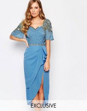 photo Laila Embellished Midi Dress with Thigh Split by Virgos Lounge, color Powder Blue/Gold - Image 1