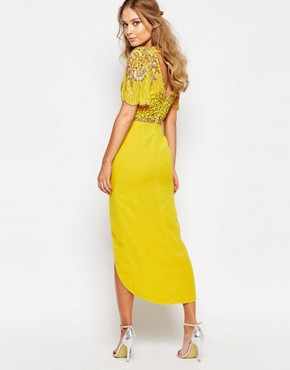 photo Laila Embellished Midi Dress with Thigh Split by Virgos Lounge, color Light Yellow/Multi - Image 2