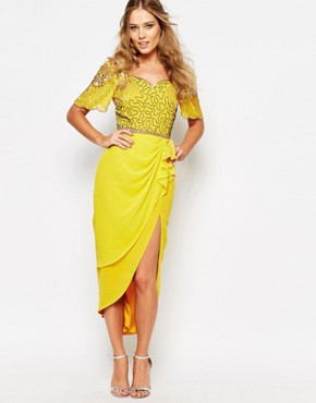 Laila Embellished Midi Dress With Thigh Split By Virgos