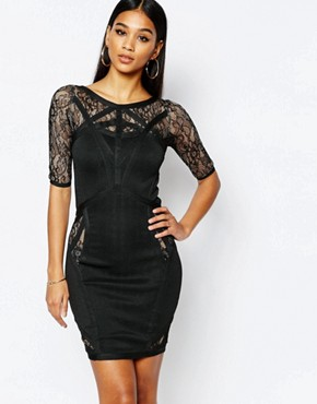 photo Bandage Mini Dress with Lace Inserts by WOW Couture, color Black - Image 1