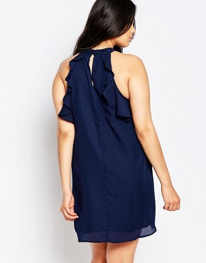 photo Sleeveless Frill Detail Shift Dress by Truly You, color Navy - Image 2