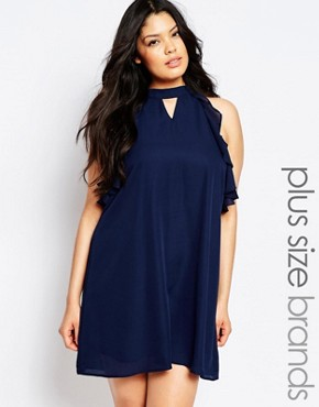 photo Sleeveless Frill Detail Shift Dress by Truly You, color Navy - Image 1