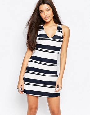 photo Stripe Neoprene A Line Dress by Abercrombie & Fitch, color Navy Stripe - Image 1