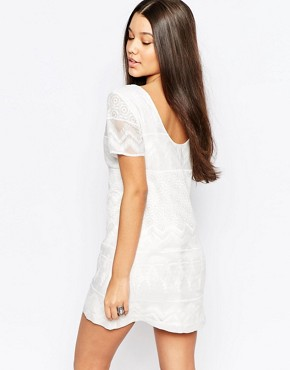 photo Embroidered Shift Dress with Lace Detail by Abercrombie & Fitch, color White - Image 2