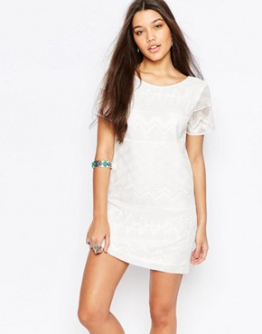 photo Embroidered Shift Dress with Lace Detail by Abercrombie & Fitch, color White - Image 1