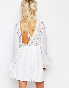 photo Pretty Caftan Dress with Bell Sleeve by Abercrombie & Fitch, color White Lace - Image 2