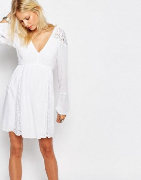 photo Pretty Caftan Dress with Bell Sleeve by Abercrombie & Fitch, color White Lace - Image 1