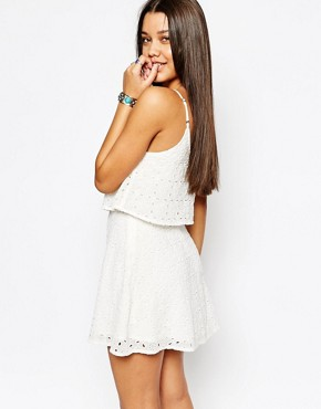 photo Eyelet Overlay Dress with Lace Panel by Abercrombie & Fitch, color White Lace - Image 2