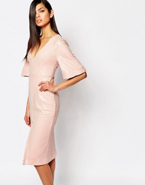 photo Luxe Plunge Neck Pencil Dress in All Over Sequin by The 8th Sign, color Pink Nude - Image 1