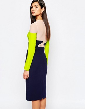 photo Colour Block Pencil Dress with Mesh Inserts by The 8th Sign, color Multi - Image 2