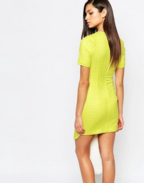 photo Dress with Asymmetric Scallop Hem by The 8th Sign, color Chartreuse - Image 2