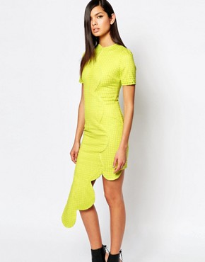 photo Dress with Asymmetric Scallop Hem by The 8th Sign, color Chartreuse - Image 1