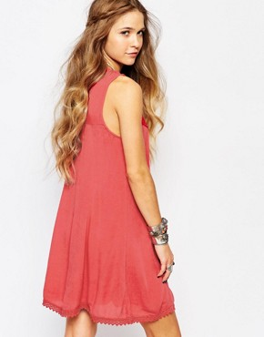 photo Embroidered Fit & Flare Dress by Hollister, color Red - Image 2