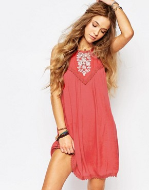 photo Embroidered Fit & Flare Dress by Hollister, color Red - Image 1