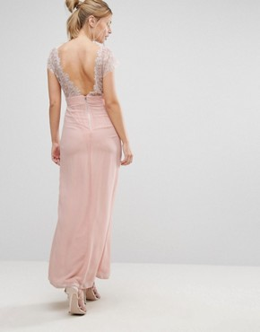photo Scalloped Lace Maxi Dress with V Back by Elise Ryan, color Nude - Image 2