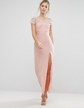 photo Scalloped Lace Maxi Dress with V Back by Elise Ryan, color Nude - Image 1