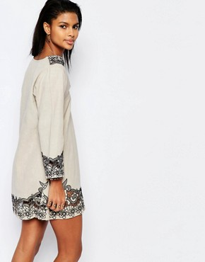 photo Cosmos Embroidered Tunic Dress by Tularosa, color Putty/Onyx - Image 2