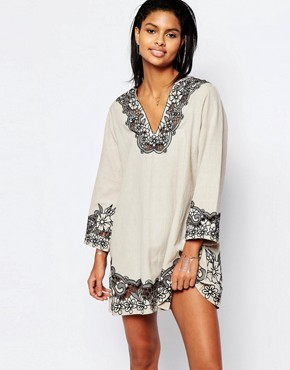 photo Cosmos Embroidered Tunic Dress by Tularosa, color Putty/Onyx - Image 1