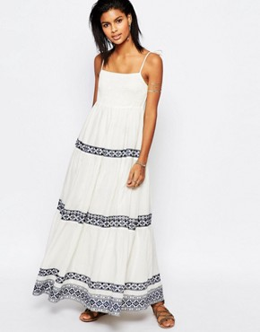 photo Blayke Maxi Dress with Embroidery by Tularosa, color White - Image 1
