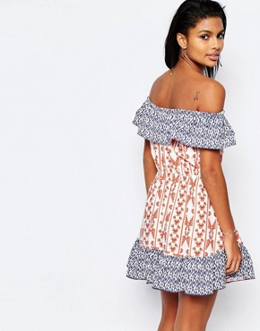 photo Taylor Off Shoulder Dress in Print by Tularosa, color Cobalt/Rust - Image 2