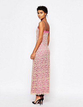 photo Lace Shell Maxi Slip Dress with Pink Lining by Self Portrait, color Nude/Pink - Image 2