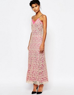 photo Lace Shell Maxi Slip Dress with Pink Lining by Self Portrait, color Nude/Pink - Image 1