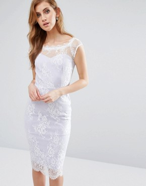 photo Sweetheart Pencil Dress with Lace Overlay by Paper Dolls, color Lilac/White - Image 1