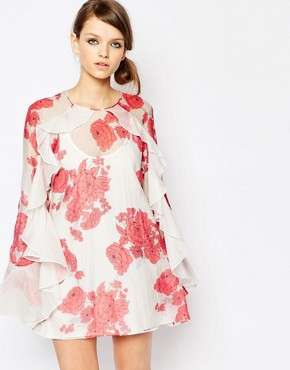 photo Delilah Silk Mix Floral Print Dress by Alice McCall, color Berry Rose - Image 1