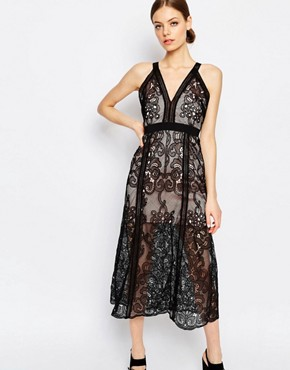 photo Wanderlust Lace Sleeveless Maxi Dress by Alice McCall, color Black - Image 1