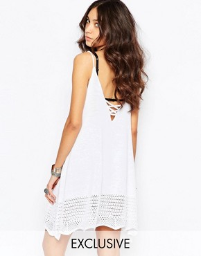 photo Festival Knitted Cami Dress with Strappy Back by Rokoko, color White - Image 1