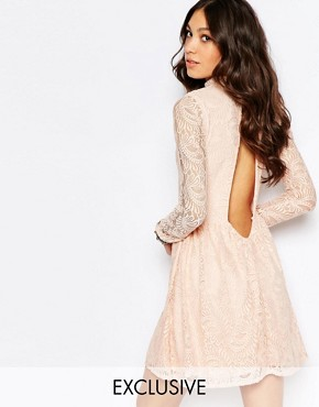 photo High Neck Dress with Open Back Detail by Rokoko, color Nudey Pink - Image 1