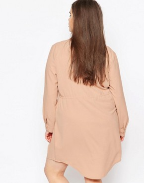 photo V Neck Drawstring Shirt Dress by Missguided Plus, color Cream - Image 2