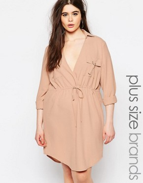 photo V Neck Drawstring Shirt Dress by Missguided Plus, color Cream - Image 1