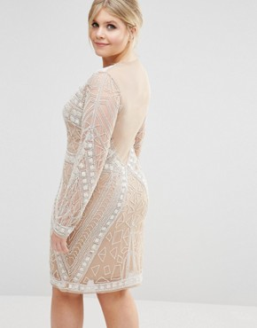 photo Premium Embellished Lace Dress by Missguided Plus, color Nude - Image 2