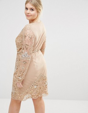 photo Premium Wrap Embellished Wrap Dress by Missguided Plus, color Gold - Image 2